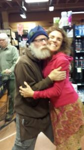 Grocery store love.  Tom is a great grocery guy (keeping the shelves stocked). He also was my roommate until a couple of months ago.  Marta is a dancing friend to both of us. Not all store hugs are quite this go-for-it, but there are plenty of them.